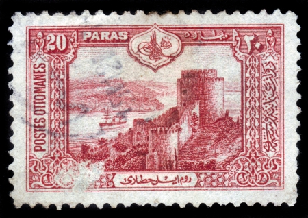 TURKEY - CIRCA 1913: A stamp printed in Turkey shows seascape with castle of Europe at Bosporus peninsula, Istanbul, circa 1913