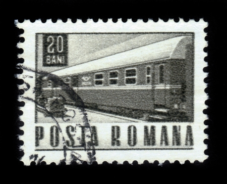 ROMANIA - CIRCA 1967: A stamp printed in Romania shows old train, circa 1967 Stock Photo - 17377568