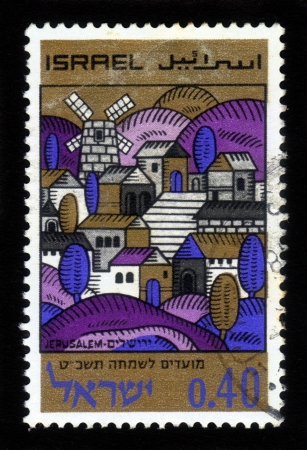 ISRAEL - CIRCA 1968: A stamp printed in Israel, shows the old  Jerusalem, series Joyous Festivals 5729, circa 1968 Stock Photo - 17377578