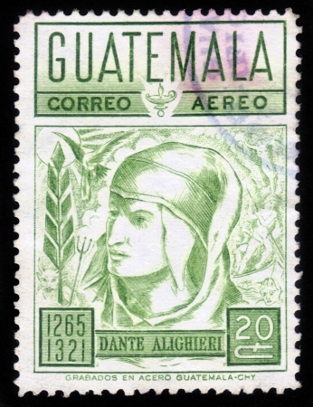 Guatemala - CIRCA 1965: a stamp printed in  Guatemala  showing an image of the famous italian poet  Dante Alighieri , circa 1965