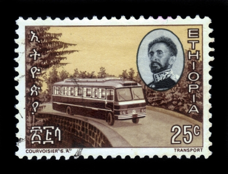 ETHIOPIA - CIRCA 1965   A stamp printed in Ethiopia shows portrait of emperor Haile Selassie and passenger bus firm Mercedes  , with the inscription in Amharic , series, circa 1965 Stock Photo - 17403129