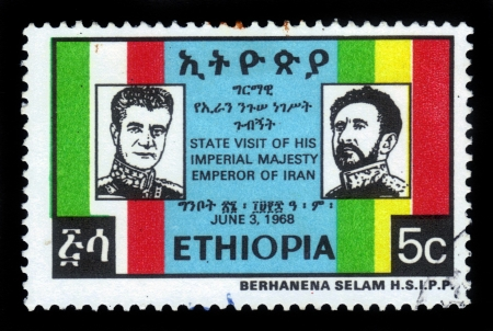 ETHIOPIA - CIRCA 1968   stamp printed in Ethiopia shows portraits of emperor Haile Selassie and shah of Iran Mohammad Reza Pahlavi, inscription  state visit of his imperial majesty emperor of Iran , circa 1968