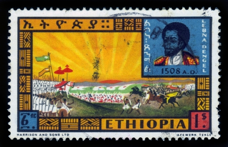 enthroned: ETHIOPIA - CIRCA 1962   A stamp printed in Ethiopia shows portrait of King Lebna Dengel and Battle against Mohammed Gragn , with the inscription in Amharic , series, circa 1962