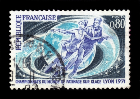 France - CIRCA 1971 A stamp printed in France showing pairs figure skating , World Cup in Lyon, circa 1971