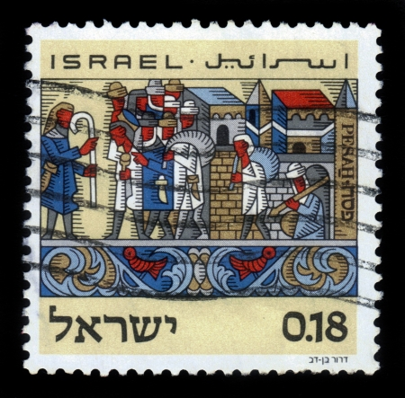 Israel - CIRCA 1972  a stamp printed in Israel shows feast of Passover , the exodus from Egypt, circa, 1972 Stock Photo - 17403128