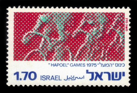 ISRAEL - CIRCA 1975  a stamp printed by Israel , shows  silhouette of the cyclists , issued in honor of the International   Hapoel  Games 1975; series, circa 1975 Stock Photo - 17491258
