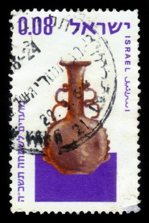 ISRAEL - CIRCA 1964  A stamp printed in Israel,  showing ancient glass vessel   found in Israel; series, circa 1964 Stock Photo - 17499273