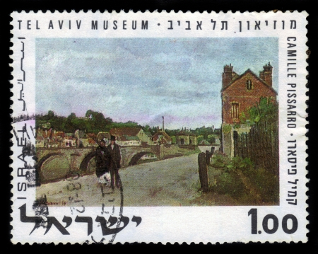 ISRAEL - CIRCA 1970  A stamp printed in Israel,  showing the picture of the artist Camille Pissarro  Landscape with Brige , Tel Aviv Museum, series, circa 1970