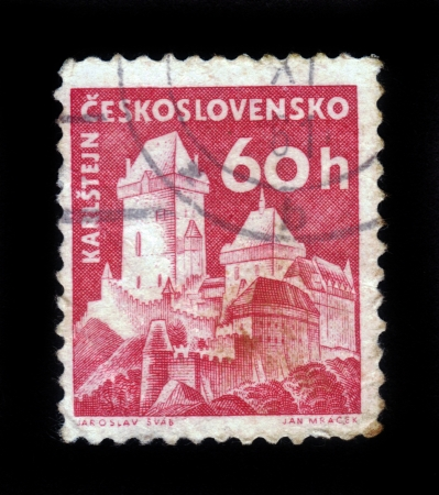 Czech Republic - CIRCA 1958  A stamp printed in Czechoslovakia shows image of Karlstejn Castle, series, circa 1958 Stock Photo - 17491255