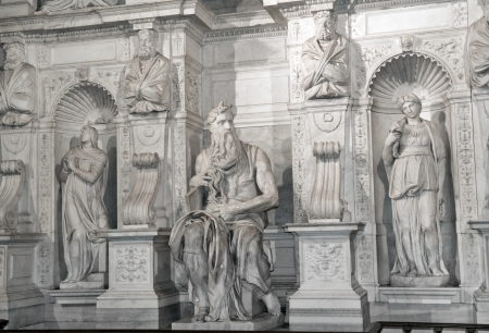 famous sculptures - Moses by Michelangelo, located in San Pietro in Vincoli basilica, Rome,Italy