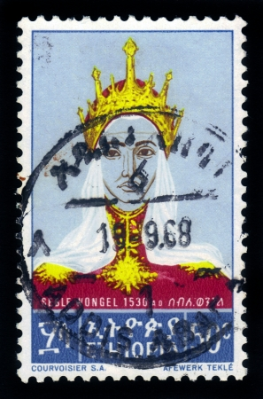 amharic: ETHIOPIA - CIRCA 1968   A stamp printed in Ethiopia shows portrait of Empress Seble Wongel , with the inscription in Amharic , series, circa 1968 Editorial