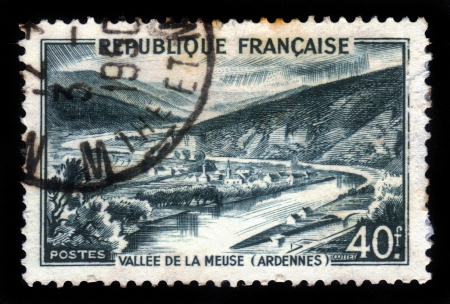 FRANCE - CIRCA 1949  stamp printed by France, shows green Meuse Valley, Ardennes, circa 1949 Stock Photo - 17499314