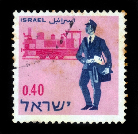 Israel - CIRCA 1966: a stamp printed by Israel shows postmen - past and present -  british mandate postmen and a locomotive, circa, 1966 Stock Photo - 17499325