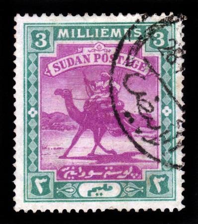 camel post: SUDAN - CIRCA 1898: A stamp printed in Sudan shows Arab postman, 5 millieme ,seria The Camel Post , circa 1898