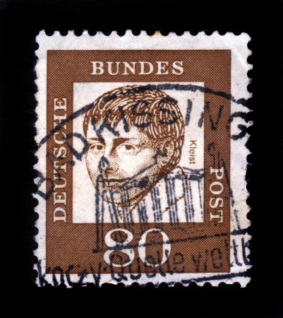 dramatist: GERMANY - CIRCA 1961: A stamp printed in Germany  showing Heinrich von Kleist, poet and dramatist, series famous germans, circa 1961.