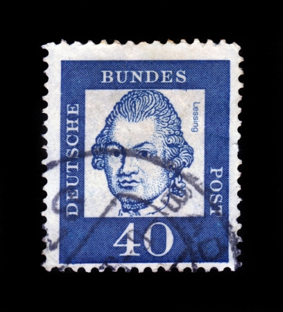 GERMANY - CIRCA 1961: A stamp printed in Germany  showing philosopher Gotthold Ephraim Lessing, series famous germans, circa 1961. Stock Photo - 17491265
