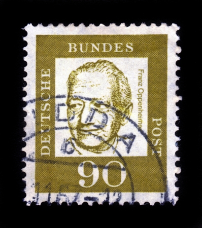 sociologist: GERMANY - CIRCA 1961: A stamp printed in Germany  showing Franz Oppenheimer was a german-jewish sociologist and political economist, series famous germans, circa 1961