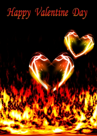 two loving hearts, burning in the flames of love as Valentine card Stock Photo - 17499369