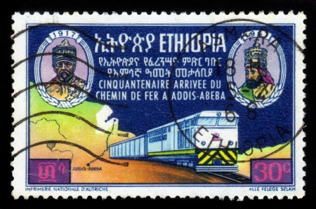 ETHIOPIA - CIRCA 1968  A stamp printed in Ethiopia shows image of  emperors  and train , dedicated to the 50th anniversary of railway to Addis Ababa , circa 1968