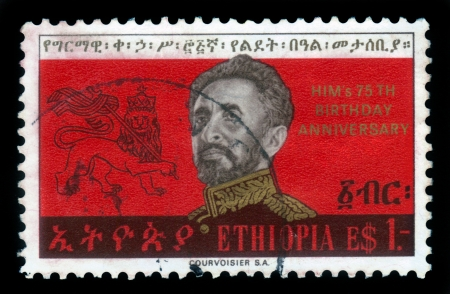 haile: ETHIOPIA - CIRCA 1967   A stamp printed in Ethiopia shows image of  emperor Haile Selassie on a red background and Lion of Judah , 75th Birthday of Emperor , series, circa 1967