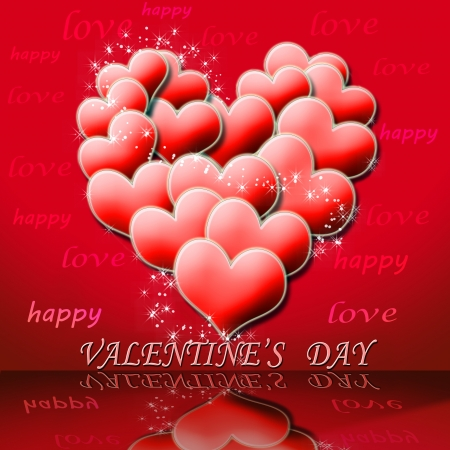 Valentine s day illustration  heart symbol assembled from many small red hearts Stock Illustration - 17499368