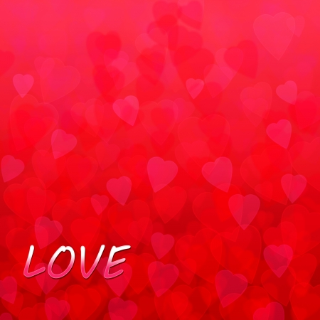 abstract background in the form of transparent red hearts and the inscription love Stock Photo - 17499367