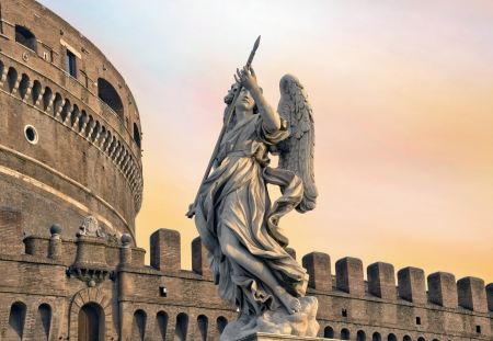 Angel on guard of Rome, statue of an angel on the background Castle Sant Angelo, Rome, Italy