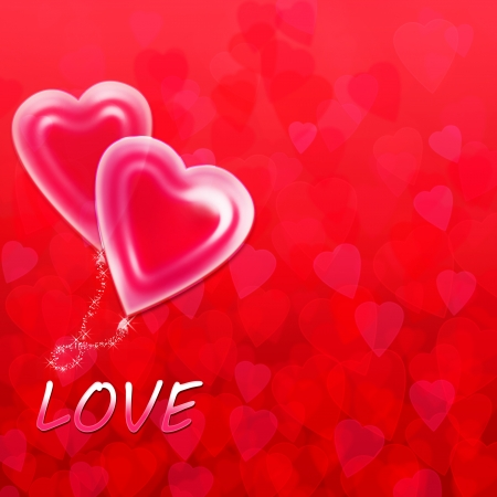 abstract background with hearts for valentine s day and the inscription love Stock Photo - 17757962