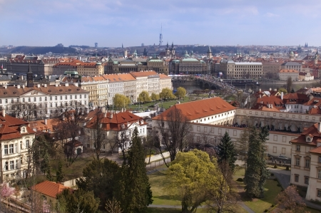 view over the red roofs of historic Prague from the height of Prague Castle, Czech Republic, Europe Stock Photo - 17757973