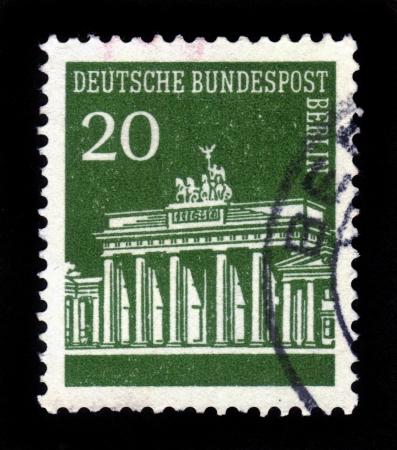 GERMANY - CIRCA 1966  A stamp printed in Germany showing Brandenburg Gate, Berlin, green, series, circa 1966 Stock Photo - 17757967