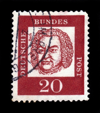 GERMANY - CIRCA 1963  a stamp printed in the Germany shows Johann Sebastian Bach, Composer, Organist and Violinist, circa 1963 Stock Photo - 17742359