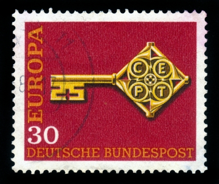 Germany - CIRCA 1968  stamp printed by Germany, shows Key with Europe CEPT emblem, circa 1968 Stock Photo - 17757970