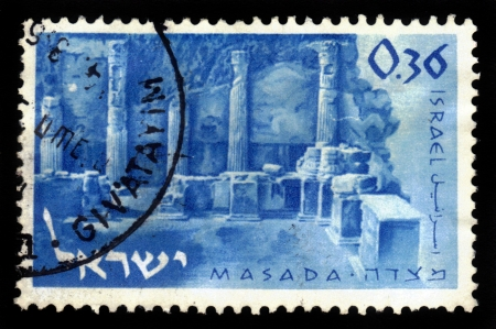 ISRAEL - CIRCA 1965  A stamp printed in Israel, shows ruins of ancient colonnade of King Herod s palace in Masada, Dead Sea ,circa 1965 Stock Photo - 17757976