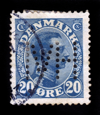 DENMARK - CIRCA 1930  A stamp printed in Denmark shows image of King Christian X, series, circa 1930 Stock Photo - 17877336