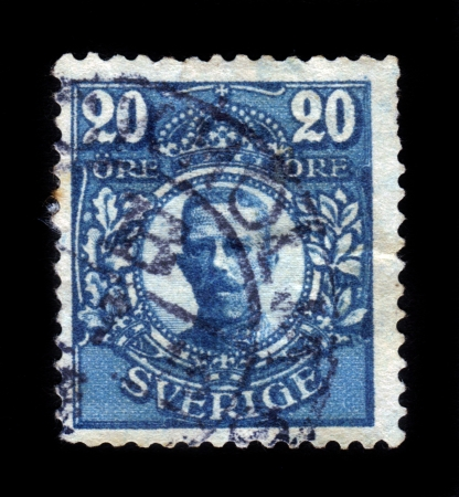 gustaf: SWEDEN - CIRCA 1911  a stamp printed in the Sweden shows King Gustaf V, King of Sweden , circa 1911