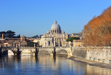 view at Vatican City and Sant Angelo s Bridge , Rome, Italy Stock Photo - 17881813