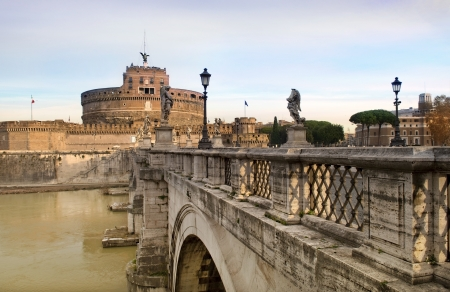 views of the Castle Sant Angelo from the bridge across the river Tiber, Rome, Italy, a series of tour of Rome Stock Photo