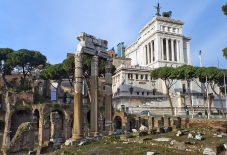 view of the ruins of the Forum Romano and the monument to the first king of united Italy Victor Emmanuel II  Vittoriano , better known as the Altar of the Fatherland, a series of Tour of Rome Stock Photo - 17881759