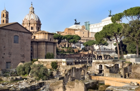 view of the ruins of the Forum Romano and the Capitol Hill, Rome, Italy, a series of tour of Rome Stock Photo - 17881853