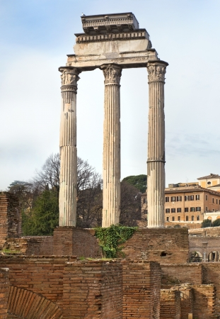 ruins of the Temple of Castor and Pollux   Temple of Dioscuri  , Rome, Italy, a series of tour of Rome Stock Photo - 17881748