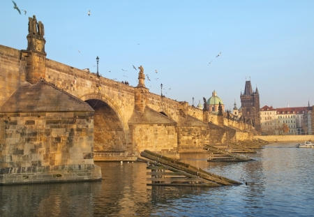 Charles Bridge and Vltava river in Prague, Czech republic Stock Photo - 17881803