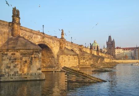 Charles Bridge and Vltava river in Prague, Czech republic Stock Photo - 17881803