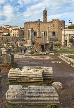 touch to history, view of the ruins of the Roman Forum and the Capitol Hill, Rome, Italy, a series of tour of Rome Stock Photo - 17881903
