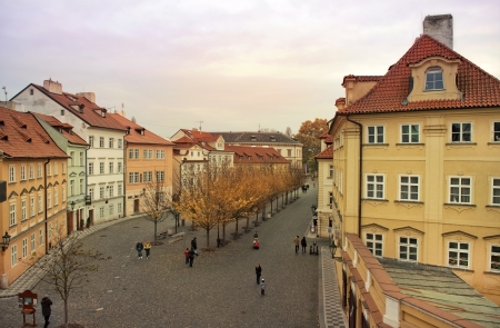 quiet street in the old Prague in autumn