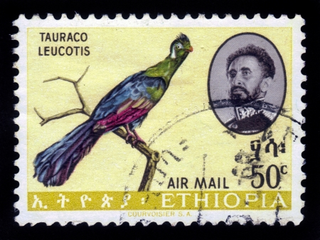 amharic: ETHIOPIA - CIRCA 1962   A stamp printed in Ethiopia shows portrait of emperor Haile Selassie and bird white-cheeked Turaco  Tauraco leucotis  , with the inscription in amharic , series, circa 1962