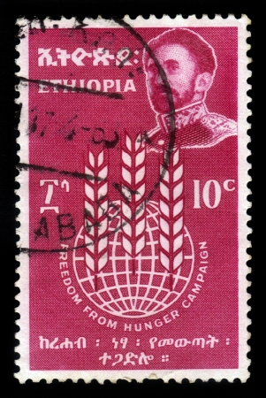 ETHIOPIA - CIRCA 1963   A stamp printed in Ethiopia shows image of  emperor Haile Selassie on a red background , with the inscription   freedom from hunger campaign, circa 1963 photo