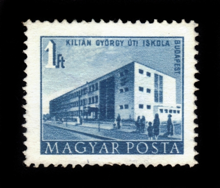 HUNGARY - CIRCA 1951   A stamp printed in Hungary shows Gyorgy Kilian Street School, Budapest with the same inscription, from the series  Budapest Buildings of the Five-Year-Plan  , circa 1951 Stock Photo - 17985659