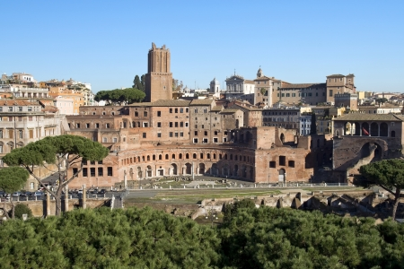 views of the Forum of Trajan from the height of Capitol Hill, Rome, Italy