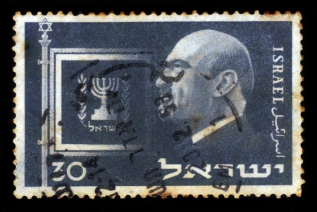 ISRAEL - CIRCA 1952  A stamp printed in ISRAEL shows portrait of  first President of Israel Dr  Chaim Weizmann , circa 1952 Stock Photo - 17990310