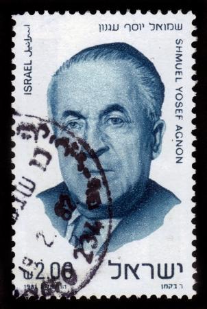 zionist: ISRAEL - CIRCA 1981  A stamp printed in ISRAEL shows portrait of  nobel prize laureate writer Shmuel Yosef Agnon  1888 - 1970  , circa 1981